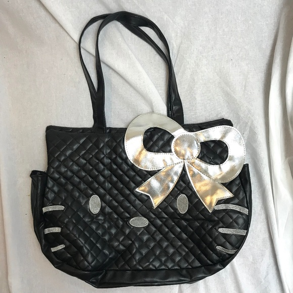 f257ade98 Hello Kitty Bags | Black Silver Quilted Tote Bag Purse | Poshmark